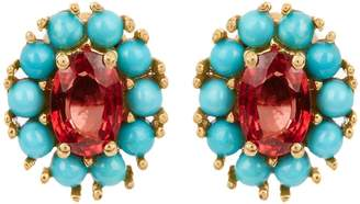 Ileana Makri Sapphire, turquoise & yellow-gold earrings