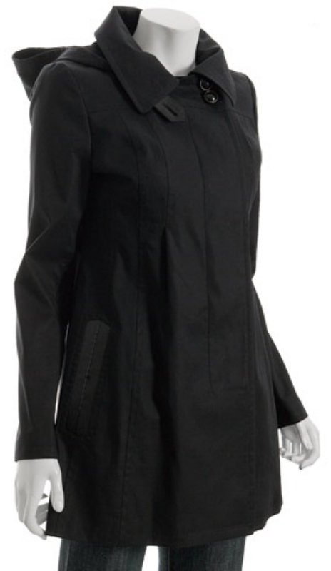 Mackage black cotton-poly 'Bianca' hooded rain coat