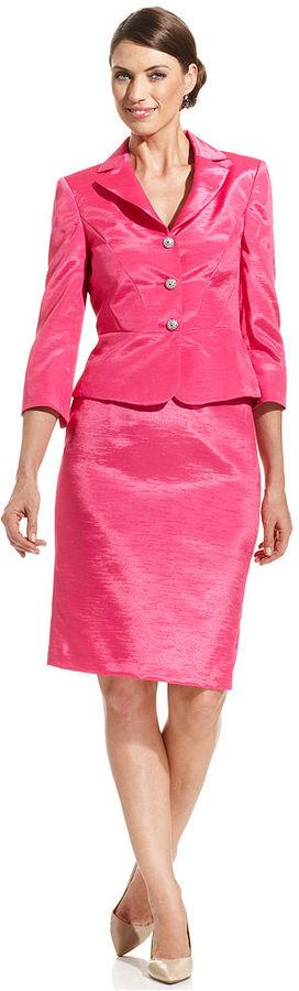 Nipon Boutique Suit, Three-Quarter-Sleeve Peplum Jacket & Skirt