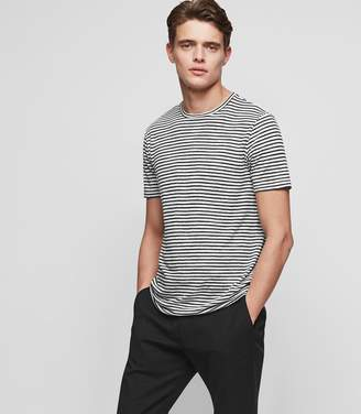 Reiss ORDER BY MIDNIGHT DEC 15TH FOR CHRISTMAS DELIVERY DOBCOT LINEN-BLEND STRIPED T-SHIRT Ecru