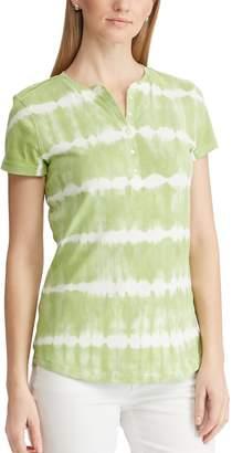 Chaps Women's Short Sleeve Printed Henley