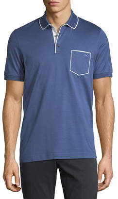 Salvatore Ferragamo Men's Cotton-Pique Contrast Piped Polo Shirt