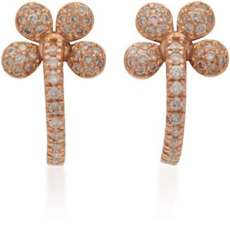 Colette Jewelry Mini Petite Flower 18K Rose Gold And Diamond Hoop Earrings