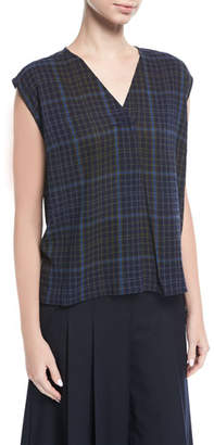 Public School Ela Plaid Sleeveless V-Neck Blouse