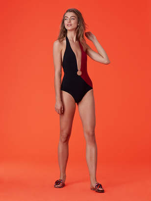 Diane von Furstenberg O-Ring Cheeky Plunge One-Piece
