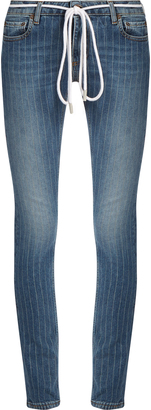 OFF-WHITE Pinstriped skinny jeans $425 thestylecure.com