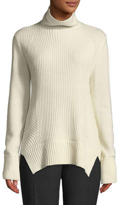 Elie Tahari Tamaya Ribbed Wool-Cashmere Pullover Turtleneck Sweater
