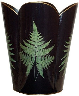 Fern Leaves on Black Decoupage Wastebasket and Optional Tissue Box