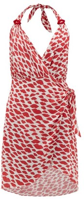 Adriana Degreas Bacio Kisses Print Voile Mini Dress - Womens - Red White