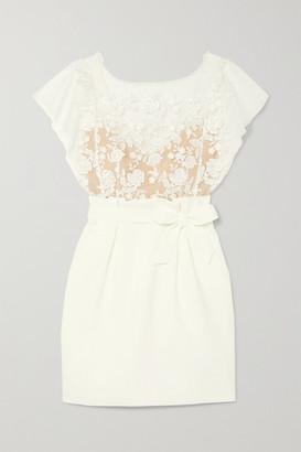 Rime Arodaky Baker Embroidered Tulle And Crepe Mini Dress - White