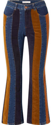 See by Chloe Cropped Corduroy-paneled High-rise Flared Jeans - Mid denim