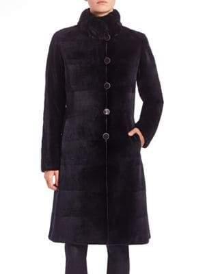 The Fur Salon Reversible Fur-Trimmed Velvet Coat