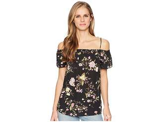 Tribal Off the Shoulder Printed Crepe Floral Top Women's Blouse