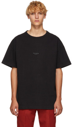 Acne Studios Black Distressed Logo T-Shirt