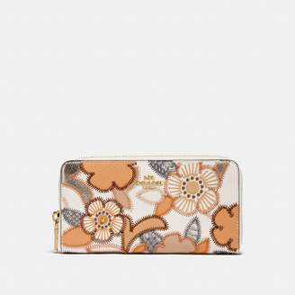 Coach New YorkCoach Accordion Zip Wallet With Patchwork Tea Rose And Snakeskin Detail