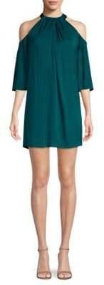 Trina Turk Pleated Cold-Shoulder Dress