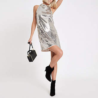 River Island Womens Silver sequin sleeveless swing dress