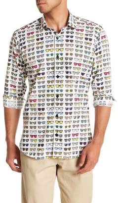 Jared Lang Sunglasses Patterned Woven Trim Fit Shirt