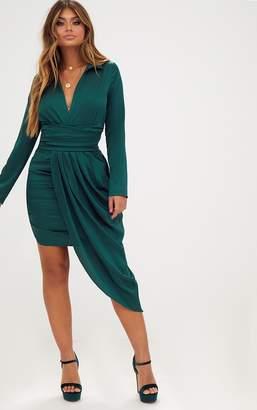 PrettyLittleThing Emerald Green Long Sleeve Satin Asymmetric Drape Midi Dress