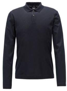 BOSS Hugo Slim-fit long-sleeved polo shirt in mercerized cotton XXL Black