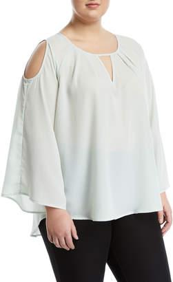 Melissa McCarthy Cold-Shoulder Keyhole Blouse, Plus Size