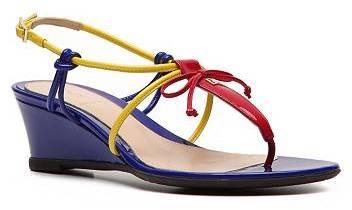 Fendi Color Block Leather Wedge Sandal