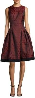 Carmen Marc Valvo Polka Dot Jacquard Dress