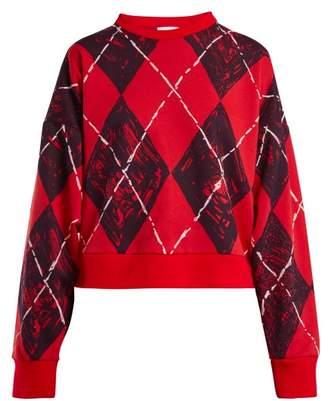 Charles Jeffrey Loverboy - Argyle Print Cotton Blend Sweatshirt - Womens - Red Multi