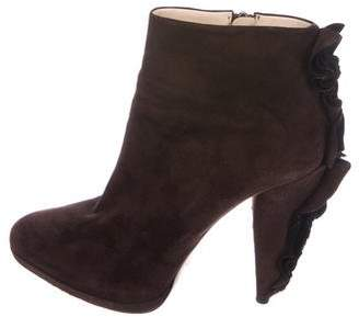 Prada Suede Ruffle-Trimmed Ankle Boots