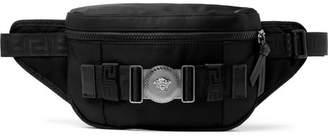 Versace Logo-Embellished Mesh-Trimmed Nylon Belt Bag - Men - Black