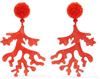 Oscar de la Renta Bead And Acetate Clip Earrings - Red