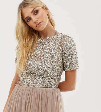 Lace and Beads Lace & Beads cropped top with embellishment and open back two-piece