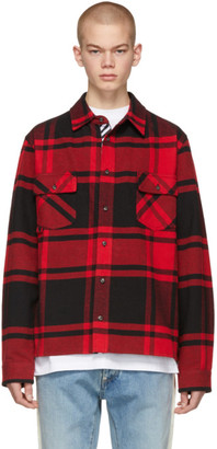 Off-White Off White Red and Black Flannel Stencil Shirt