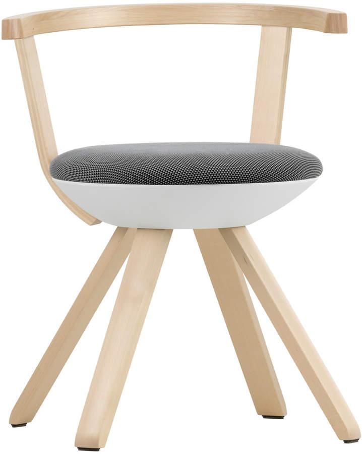 KG 001 Rival Stuhl niedrig Birke, weiß, schwarz / weiß