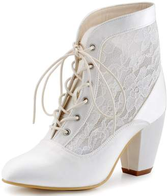 91599ba3ae1 Elegantpark HC1559 Women Ankle Boots Closed Toe Lace Up Chuncky Heel Satin  Lace Wedding Bridal Pumps