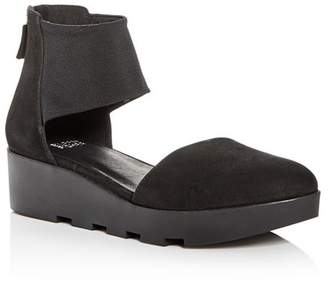 Eileen Fisher Women's Nubuck Leather d'Orsay Platform Wedge Pumps