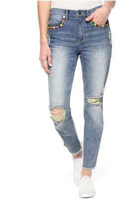 Juicy Couture Embroidered Tropicana Denim Boyfriend Jean