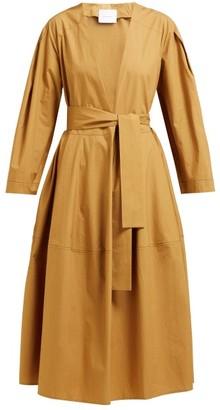 Marios Schwab On The Island By Fornells V Neck Tie Waist Cotton Midi Dress - Womens - Khaki