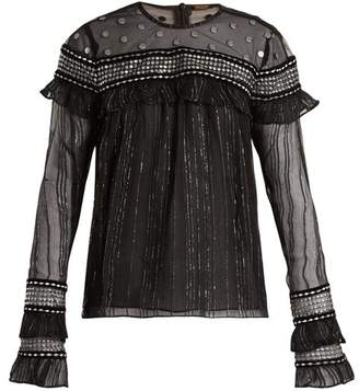 Dodo Bar Or - Silviya Velvet Trimmed Striped Chiffon Top - Womens - Black Silver