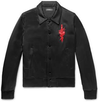Amiri Leather-Appliquéd Satin Bomber Jacket