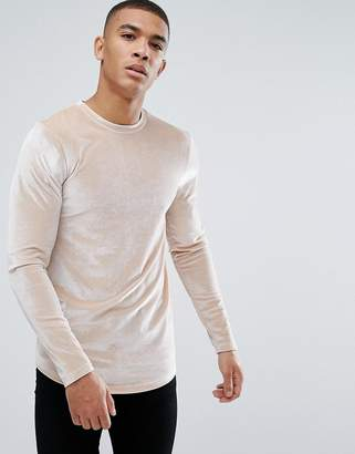 Asos Longline Muscle Long Sleeve T-Shirt In Velour With Curved Hem In Beige