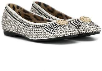 Roberto Cavalli Junior TEEN studded logo ballerinas