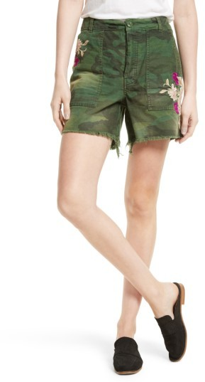 Women's Free People Camo Embroidered Scout Shorts