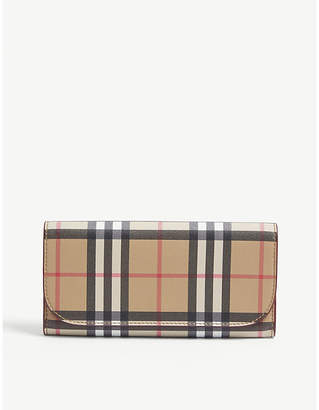 Burberry Heron leather check continental wallet