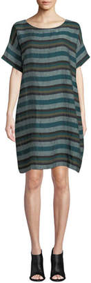Eileen Fisher Plus Size Short-Sleeve Cross-Dyed Linen Dress