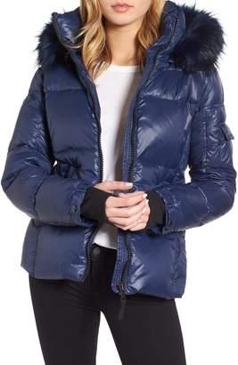 S13/Nyc Kylie Faux Fur Trim Gloss Puffer Jacket