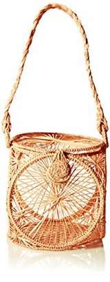 Kaanas Lorica Straw Woven Lantern Tote Bag