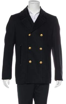 Marc Jacobs Velvet-Trimmed Wool Peacoat w/ Tags