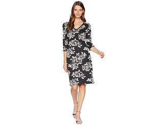 Taylor Rose Printed V-Neck Midi Dress