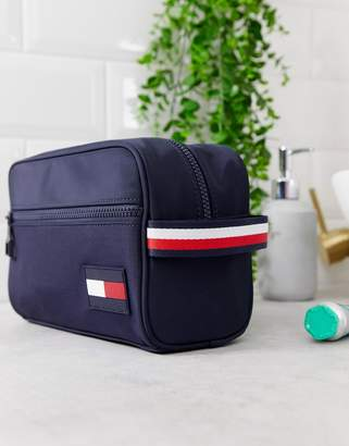 Tommy Hilfiger nylon icon flag logo and stripe handle toiletry bag in navy